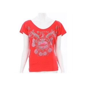 Photo of Firetrap Red Open Back Drape T-Shirt T Shirts Woman