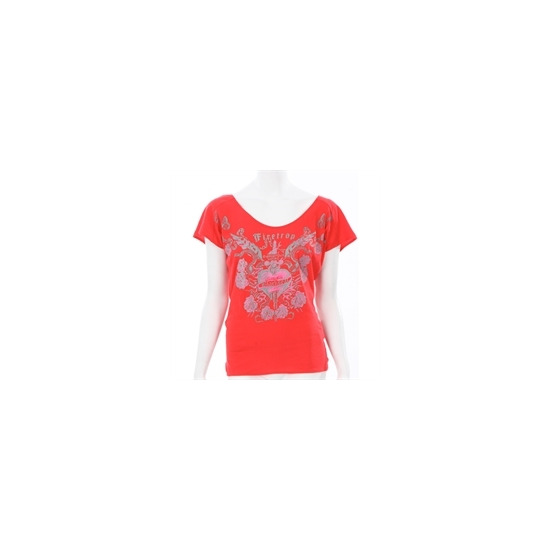 Firetrap Red Open Back Drape T-shirt