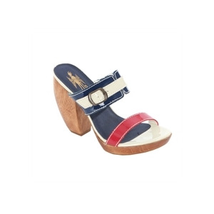 Photo of Feud Navy Buckle Detail Patent Heels Shoes Woman