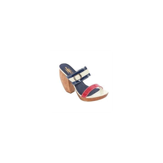Feud Navy Buckle Detail Patent Heels
