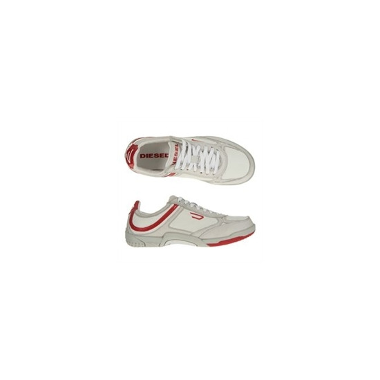 Diesel White and Red Trainers