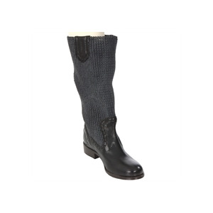 Photo of Diesel Black Knit Top Knee High Boot Shoes Woman