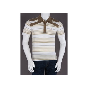 Photo of Penguin Heritage Fit Stripe Polo Beige Tops Man