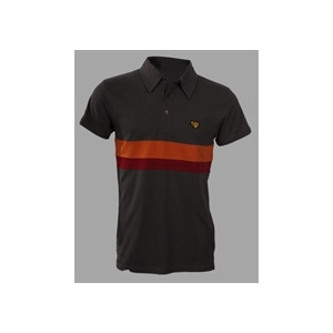 Photo of Gola Wilson Chest Stripe Jersey Polo - Grey & Orange Tops Man