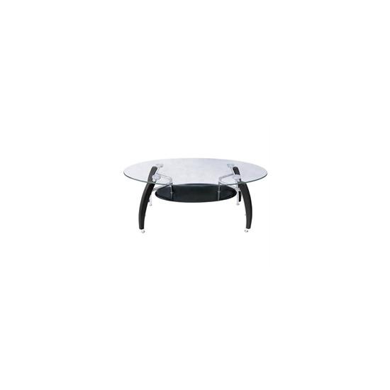 Glass Coffee Table with Black Glass Shelf