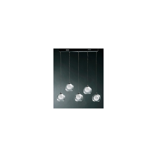 5 Ball Glass and Chrome Ceiling Light
