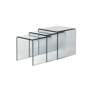 Photo of Set Of 3 Clear Glass Nesting Tables Furniture