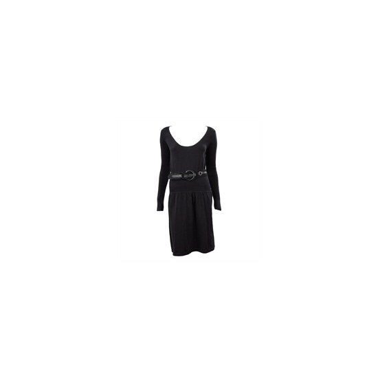 French Connection long sleeve fine knit dress blk