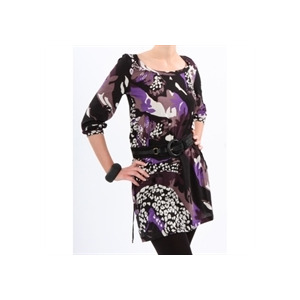 Photo of French Connection Print Tunic Black & Plum Tops Woman