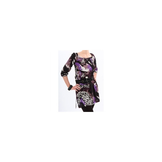 French Connection Print Tunic Black & Plum