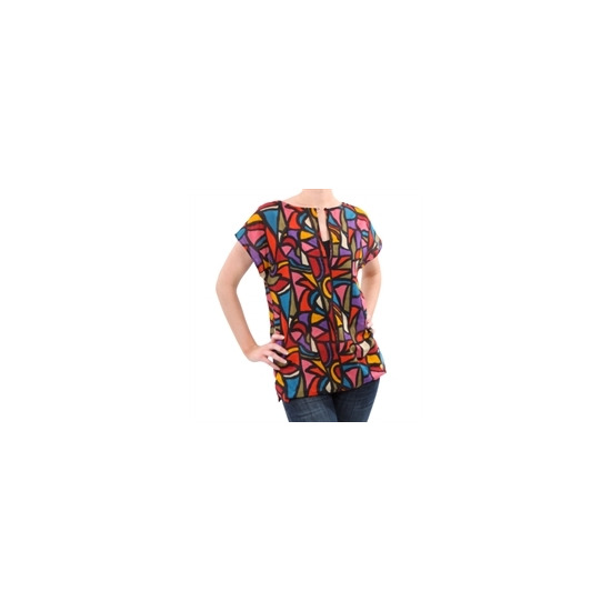 French Connection print cap sleeve top