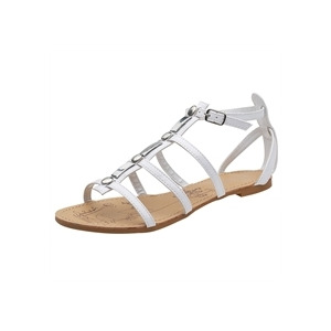 Photo of Savannah Gladiator Patent Sandals White Shoes Woman
