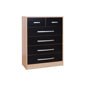 Photo of Cannes 4 + 2 Drawer Chest - Beech Effect & Black Furniture