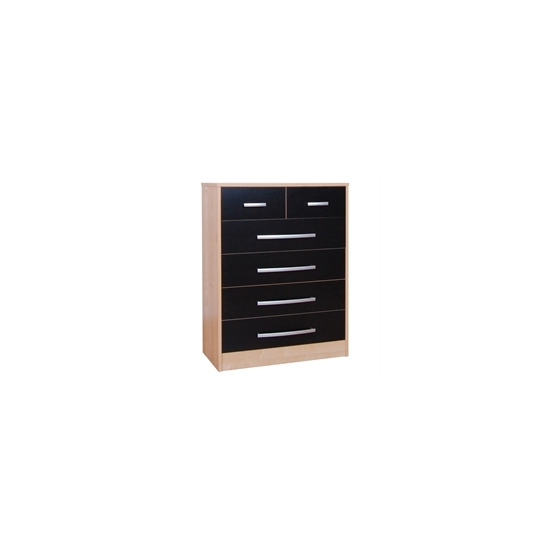 Cannes 4 + 2 Drawer Chest - Beech Effect & Black