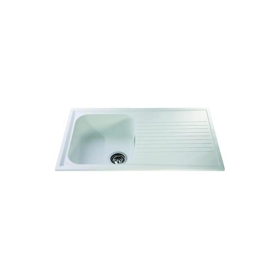 CDA Composite Single Bowl Sink - White