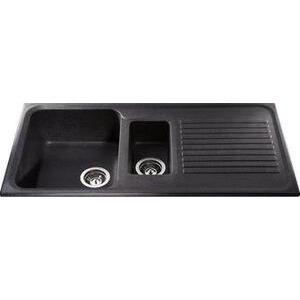 Photo of CDA Composite One and Half Bowl Sink Ebony Black Kitchen Sink