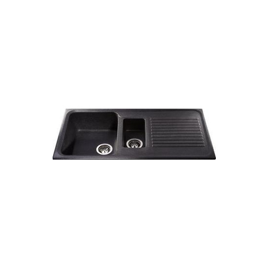 CDA Composite One and Half Bowl Sink Ebony Black
