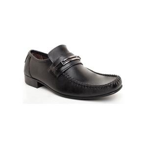 Photo of Base 'Slide' Twin Trim Saddle Loafer Black Shoes Man