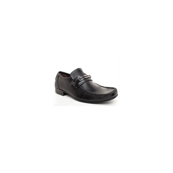 Base 'Slide' Twin Trim Saddle Loafer Black
