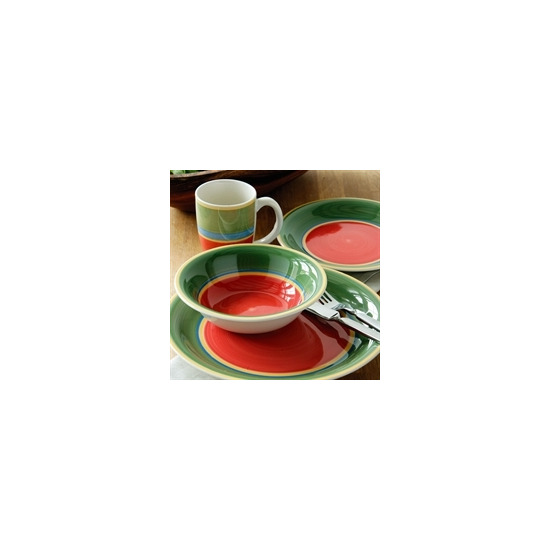 16 Piece Titan Dinner Set - Green and Red