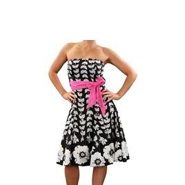 Eucalyptus Black Clematis Dress With Pink Sash Reviews
