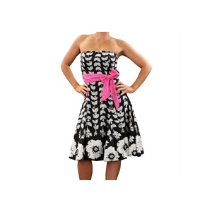 Photo of Eucalyptus Black Clematis Dress With Pink Sash Dress