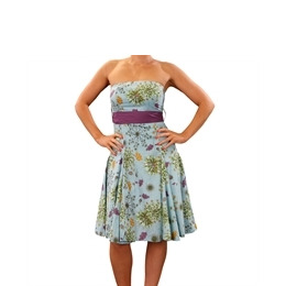 Eucalyptus Blue Alium Dress With Purple Sash Reviews