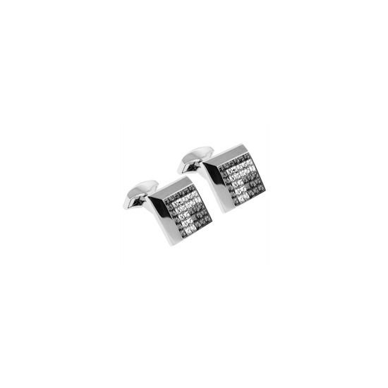 RT Collection Square Cufflinks - Clear Crystal