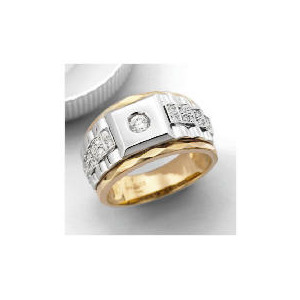 Photo of 9CT 2COL Gold CZ Watch Strap Ring,S Jewellery Woman