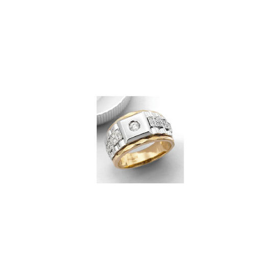 9ct 2col Gold CZ Watch strap ring,S