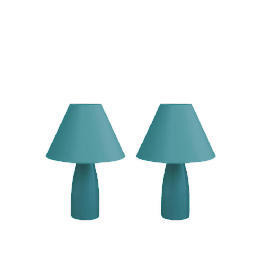 Tesco Pair Of Tapered Ceramic Table Lamps, Teal Reviews