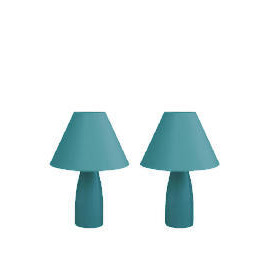 Tesco Pair Of Tapered Ceramic Table Lamps, Teal Reviews