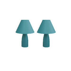 Photo of Tesco Pair Of Tapered Ceramic Table Lamps, Teal Lighting