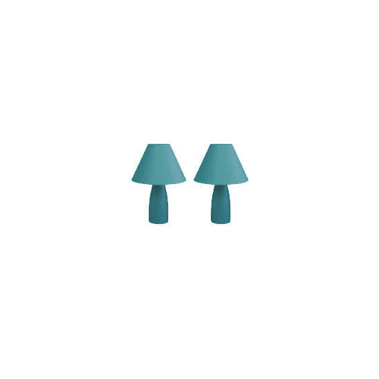 Tesco Pair Of Tapered Ceramic Table Lamps, Teal