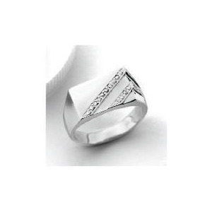 Photo of 9CT White Gold Diamond Gents Ring V Jewellery Men