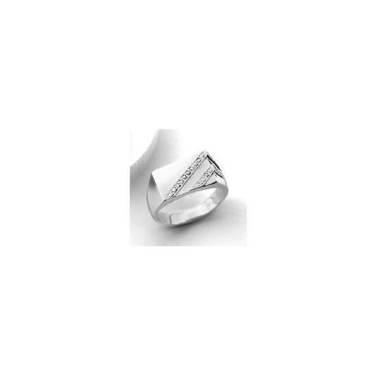 9ct white gold Diamond Gents Ring V