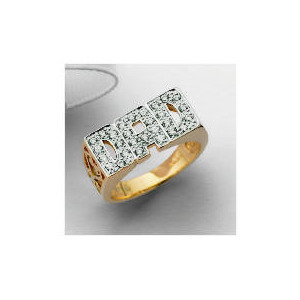 Photo of 9CT Gold Cubic Zirconia DAD Ring, V Jewellery Woman