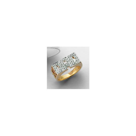 9ct Gold Cubic Zirconia DAD Ring, V