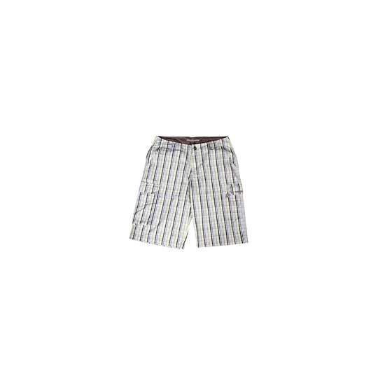 Duck and Cover Issue Shorts  Yellow Blue Check