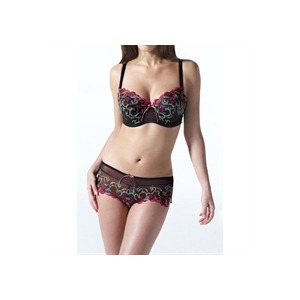 Photo of Panache Black Embroidered Bra With Pink Embroidery Lingerie