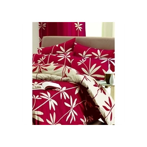 Photo of Palm Red Quilt Cover Set King Size Bedding
