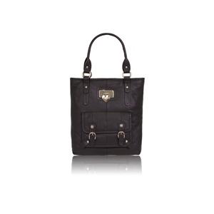 Photo of Suzy Smith Large Leather Shoulder Bag - Black Handbag
