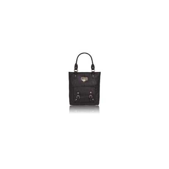 Suzy Smith Large Leather Shoulder Bag - Black