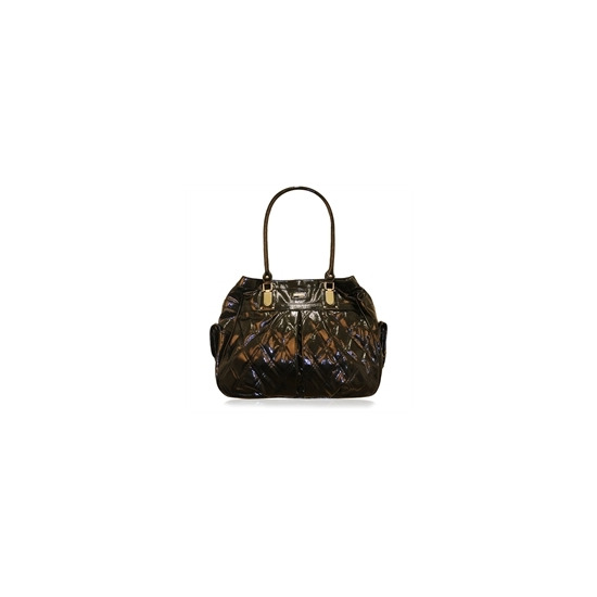 Suzy Smith Patent Quilted Bag Black