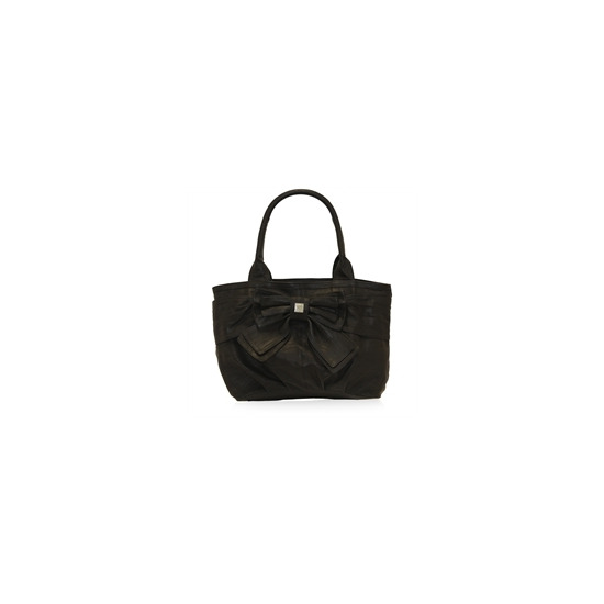 Suzy Smith Leather Bow Bag - Black