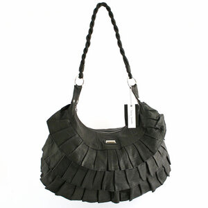 Photo of Suzy Smith Leather Pleat Bag Black Handbag
