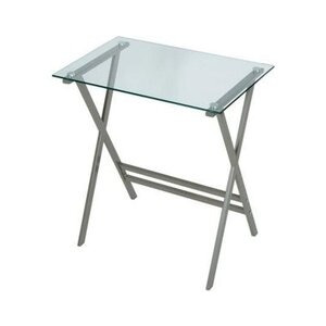 Photo of LEVV Clear Glass and Graphite Computer Desk Computer Desk