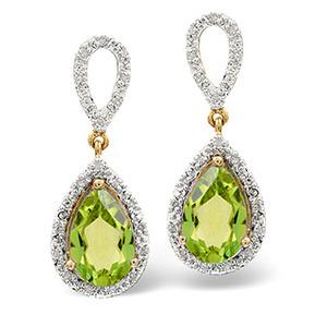 Photo of 9K Gold Diamond Peridot Teardrop Earrings 0.21CT PE 3.06CT Jewellery Woman