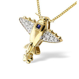 9K Gold Pave Set Diamond Sapphire Plane Pendant (D0.05 S0.03) Reviews