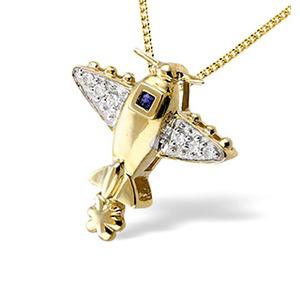 Photo of 9K Gold Pave Set Diamond Sapphire Plane Pendant (D0.05 S0.03) Jewellery Woman